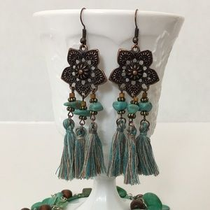 Accessories - Antiqued Bronze Floral Turquoise Tassel Earring